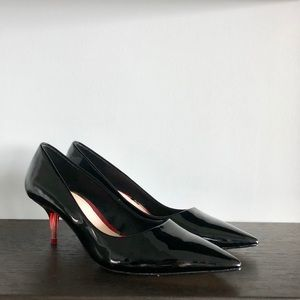 Zara Patent Leather Pumps W/ Small Lucite Heel